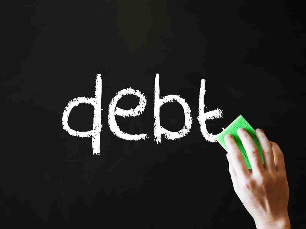 CCC Debt Management debt written with white chalk on blackboard